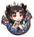 2girls asymmetrical_legwear black_bow black_hair blonde_hair blue_legwear blush bow chibi detached_sleeves earrings fate/grand_order fate_(series) gabiran hair_bow heavenly_boat_maanna hoop_earrings ishtar_(fate/grand_order) jewelry lowres multiple_girls red_bow red_eyes simple_background single_detached_sleeve single_thighhigh smile thigh-highs tiara two_side_up weapon white_background