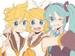 1boy 2girls aqua_eyes aqua_hair aqua_neckwear armpits bangs bare_shoulders black_collar black_sleeves blonde_hair blue_eyes bow collar collarbone commentary detached_sleeves grey_shirt grin group_picture hair_bow hair_ornament hairclip hands_on_shoulders hatsune_miku headphones highres kagamine_len kagamine_rin light_blush long_hair looking_at_viewer m0ti multiple_girls neckerchief necktie one_eye_closed sailor_collar school_uniform self_shot shirt short_ponytail short_sleeves sleeveless sleeveless_shirt smile spiky_hair swept_bangs twintails upper_body v very_long_hair vocaloid white_background white_bow yellow_neckwear