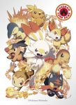 6+others beak buck_teeth charmander chimchar claws copyright copyright_name cyndaquil fangs fennekin fire gen_1_pokemon gen_2_pokemon gen_3_pokemon gen_4_pokemon gen_5_pokemon gen_6_pokemon gen_7_pokemon gen_8_pokemon highres litten looking_at_viewer multiple_others nintendo official_art open_mouth pokemon pokemon_(creature) pokemon_trading_card_game scorbunny simple_background tail talons tepig torchic