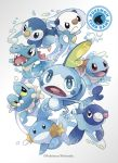 6+others :< beak bubble copyright copyright_name fangs fins froakie gen_1_pokemon gen_2_pokemon gen_3_pokemon gen_4_pokemon gen_5_pokemon gen_6_pokemon gen_7_pokemon gen_8_pokemon highres looking_at_viewer mudkip multiple_others nintendo official_art oshawott pokemon pokemon_(creature) pokemon_trading_card_game popplio prinplup shell simple_background sobble squirtle tail tail_fin totodile water