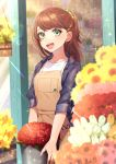1girl :d apron blush brown_hair day earrings florist flower green_eyes green_scrunchie hair_ornament hair_scrunchie hairclip highres jacket jewelry looking_at_viewer necklace open_mouth original peta_(snc7) red_earrings scissors scrunchie smile standing