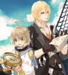 2boys ahoge bangs belt black_belt black_coat black_gloves black_jacket black_pants blonde_hair blue_eyes blue_sailor_collar blue_sky bow clouds coat collarbone dress dress_shirt eizen_(tales) gloves green_eyes hair_between_eyes holding_map isa_(peien516) jacket laphicet_(tales) male_focus multiple_boys open_clothes open_coat pants sailor_collar sailor_dress ship shirt short_hair sky standing tales_of_(series) tales_of_berseria torn_coat vertical-striped_jacket watercraft white_dress white_shirt yellow_bow