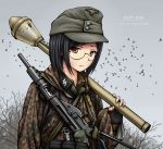 1girl absurdres black_hair brown_eyes camouflage commentary explosive german_commentary germany glasses grenade gun hat highres looking_at_viewer military military_hat nazi original outdoors panzerfaust reichsadler short_hair soldier solo ss_insignia sten_gun stielhandgranate submachine_gun weapon weapon_request world_war_ii zap-nik