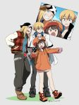 1girl 2boys :d arm_up asaya_minoru axl_low backpack bag bandana bangs black_footwear black_gloves black_pants blonde_hair blue_eyes blue_shirt boots brown_eyes brown_footwear brown_gloves brown_hair cabbie_hat cellphone drawstring eyebrows_visible_through_hair fingerless_gloves gloves grey_background grin guilty_gear guilty_gear_2020 hair_between_eyes hat holding holding_cellphone holding_phone hood hood_down hoodie jacket ky_kiske long_hair long_sleeves may_(guilty_gear) multiple_boys one_eye_closed open_clothes open_jacket open_mouth orange_footwear orange_headwear orange_hoodie outstretched_arm pants parted_lips phone photo_(object) plaid_jacket red_jacket self_shot shirt skull_and_crossbones smile twitter_username v very_long_hair white_jacket