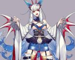 1girl :d bangs bare_shoulders blue_hair blue_nails breasts copyright_request eyebrows_visible_through_hair fangs garter_straps hachizowo highres looking_at_viewer open_mouth purple_background red_eyes sidelocks simple_background skirt smile solo teeth thigh-highs white_hair wings