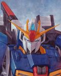 argama artist_name calligraphy_brush_(medium) clouds gundam hector_trunnec highres mecha military no_humans shield sky traditional_media watercolor_(medium) zeta_gundam zeta_gundam_(mobile_suit)