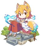 1girl animal_ears apron brown_eyes commentary floating fox_ears fox_girl fox_shadow_puppet fox_tail geta hair_ornament highres hitodama japanese_clothes looking_at_viewer miko orange_hair roku_no_hito senko_(sewayaki_kitsune_no_senko-san) sewayaki_kitsune_no_senko-san simple_background solo tail tree white_background white_legwear