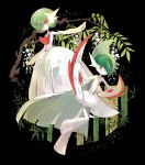 1boy 1girl arm_up bamboo bangs black_background collarbone commentary_request flat_chest flower full_body gallade gardevoir gen_3_pokemon gen_4_pokemon green_hair hair_over_one_eye leg_up looking_at_viewer looking_to_the_side mega_gallade mega_gardevoir mega_pokemon multicolored_hair no_humans no_mouth outstretched_arm pokemon pokemon_(creature) red_eyes short_hair standing standing_on_one_leg tamura_yuki tree two-tone_hair white_flower white_skin