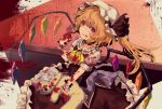 1girl :q ascot bangs berabou black_choker blonde_hair blood blood_on_face bloody_clothes bloody_hands choker commentary crystal dress flandre_scarlet frilled_shirt_collar frills hand_up hat hat_ribbon highres holding holding_stuffed_animal indoors long_hair looking_at_viewer mob_cap one_side_up red_dress red_eyes red_ribbon ribbon shirt solo stuffed_animal stuffed_toy teddy_bear tongue tongue_out touhou white_headwear white_shirt wings wrist_cuffs yellow_neckwear