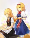 2girls alice_margatroid apron bangs black_skirt black_vest blonde_hair blue_dress blue_eyes bow bowtie braid breasts brushing_another's_hair capelet commentary dress eyebrows_visible_through_hair feet_out_of_frame frilled_apron frilled_hairband frills from_side hair_between_eyes hair_bow hairband highres holding holding_another's_hair kirisame_marisa lolita_hairband long_hair maid_apron medium_breasts miniskirt multiple_girls no_hat no_headwear parted_lips petticoat puffy_short_sleeves puffy_sleeves red_bow red_hairband red_neckwear red_sash rin_falcon sash shirt short_hair short_sleeves single_braid sitting skirt skirt_set small_breasts smile touhou vest waist_apron white_apron white_bow white_capelet white_shirt yellow_eyes
