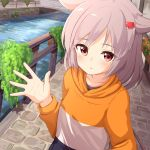 1girl ame. azur_lane bangs blush breasts bridge canal collarbone commentary_request day eyebrows_visible_through_hair flower grey_hair hair_ears hair_ornament hairclip hand_up highres long_hair long_sleeves looking_at_viewer montpelier_(azur_lane) orange_shirt outdoors parted_lips railing red_eyes red_flower shirt small_breasts solo star star_in_eye symbol_in_eye water white_shirt