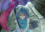 1girl arms_up blue_eyes blue_hair blue_skirt blue_vest commentary_request crying crying_with_eyes_open eyebrows_visible_through_hair frilled_shirt_collar frills from_above hair_between_eyes heterochromia highres holding holding_umbrella juliet_sleeves karakasa_obake light_frown long_sleeves looking_at_viewer outdoors puddle puffy_sleeves rain red_eyes road sachisudesu shirt short_hair skirt sleeves_past_wrists solo standing streaming_tears street tatara_kogasa tears touhou umbrella vest white_shirt