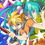 1boy 1girl aqua_eyes aqua_hair arm_up ball blonde_hair blue_eyes blue_shirt calendar_(medium) commentary crypton_future_media from_side hatsune_miku holding holding_ball holding_paddle index_finger_raised kagamine_len long_hair looking_at_viewer negi_(ulog'be) open_mouth orange_shirt paddle shirt short_hair short_ponytail smile spiky_hair sportswear star table_tennis table_tennis_ball table_tennis_paddle twintails two-tone_shirt vocaloid