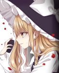 1girl bangs black_headwear black_vest blonde_hair bow commentary_request from_side hand_up hat hat_bow highres holding kirisame_marisa long_hair long_sleeves mini-hakkero parted_lips petals profile rose_petals shiki_(s1k1xxx) shirt simple_background solo sweat touhou upper_body vest white_background white_bow white_shirt witch_hat yellow_eyes