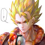 1boy ? artist_request blonde_hair blue_eyes character_request closed_mouth collar collarbone dragon_ball holding holding_poke_ball looking_down male_focus poke_ball simple_background solo spiky_hair upper_body white_background