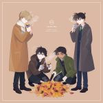 4boys ^_^ autumn autumn_leaves bangs black_hair black_pants blazer blonde_hair blue_eyes blue_pants border brown_background brown_coat brown_jacket character_name closed_eyes coat collared_shirt dark_skin dark_skinned_male eating food gakuran gloves green_jacket green_neckwear grey_coat grin hattori_heiji highres holding holding_food hood hooded_jacket jacket kudou_shin'ichi kuroba_kaito long_sleeves magic_kaito male_focus meitantei_conan multiple_boys necktie pants pocket profile saguru_hakuba scarf school_uniform shirt shoes simple_background smile smoke squatting srrr315 standing steam sweet_potato tongs white_gloves white_scarf white_shirt wrapper yakiimo