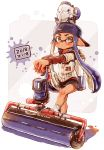 1girl absurdres autobomb_(splatoon) backwards_hat bangs baseball_jersey black_shorts blunt_bangs carbon_roller_(splatoon) closed_mouth commentary dark_skin dated domino_mask foot_up gym_shorts harutarou_(orion_3boshi) hat highres holding holding_weapon ink_tank_(splatoon) inkling logo long_hair long_sleeves looking_at_viewer mask paint_splatter pointy_ears print_shirt purple_hair purple_headwear red_footwear sandals shirt short_over_long_sleeves short_shorts short_sleeves shorts socks solo splatoon_(series) splatoon_2 standing tentacle_hair weapon white_legwear white_shirt