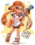 1girl ;) absurdres backwards_hat bangs baseball_cap black_shorts blunt_bangs brown_eyes closed_mouth commentary dark_skin dated domino_mask eighth_note fang full_body gym_shorts hand_on_hip harutarou_(orion_3boshi) hat highres holding holding_weapon ink_tank_(splatoon) inkling l-3_nozzlenose_(splatoon) logo long_hair looking_at_viewer mask musical_note one_eye_closed orange_hair orange_headwear pointy_ears print_shirt sandals shirt short_shorts shorts smile solo splatoon_(series) splatoon_2 standing standing_on_one_leg tank_top tentacle_hair weapon white_footwear white_shirt