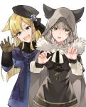 2girls animal_ears bangs black_headwear blonde_hair blue_eyes blush brown_gloves cape cloak commentary_request eyebrows_visible_through_hair fangs fate/grand_order fate_(series) flower fur_trim gloves gray_(lord_el-melloi_ii) green_eyes grey_hair hair_between_eyes hat highres hood hood_up kamo860 long_hair long_sleeves looking_at_viewer lord_el-melloi_ii_case_files multiple_girls reines_el-melloi_archisorte ribbon short_hair silver_hair simple_background smile white_background white_ribbon wolf_ears