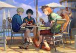 4boys animal arm_rest bakugou_katsuki bird black_hair blonde_hair boku_no_hero_academia card chair closed_mouth cup d: day drink drinking_glass full_body green_hair grin holding holding_card jacket kaminari_denki kirishima_eijirou long_sleeves looking_at_another male_focus midoriya_izuku multicolored_hair multiple_boys open_mouth outdoors playing_card print_shirt redhead sandals shirt shoes short_hair short_sleeves shorts sitting smile socks spiky_hair summer table taro-k two-tone_hair watch watch wristband