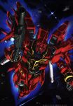 absurdres glowing glowing_eye gun gundam gundam_unicorn highres holding holding_gun holding_weapon mecha no_humans official_art shield signature sinanju solo space thrusters weapon