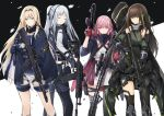 4girls ak-12 ak-12_(girls_frontline) an-94 an-94_(girls_frontline) ar-15 assault_rifle asymmetrical_legwear black_eyes black_gloves black_hair black_legwear blue_eyes brown_eyes closed_eyes coat defy_(girls_frontline) flugel_(kaleido_scope-710) girls_frontline gloves green_hair gun gun_case high_ponytail holding holding_gun holding_weapon long_hair long_sleeves m4_carbine m4a1_(girls_frontline) mod3_(girls_frontline) multicolored_hair multiple_girls open_clothes open_coat partly_fingerless_gloves pink_hair ponytail red_gloves rifle scarf scope short_shorts shorts silver_hair smile st_ar-15_(girls_frontline) stanag_magazine streaked_hair suppressor thigh-highs trigger_discipline two-tone_hair weapon white_hair white_shorts