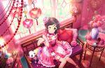 blush chinese_clothes green_eyes idolmaster_cinderella_girls_starlight_stage long_hair purple_hair smile wink yao_feifei