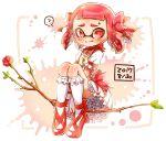 1girl ? bangs blunt_bangs blush bobby_socks bow bubble_skirt choker closed_mouth commentary_request cosplay dated domino_mask dress flower frilled_sleeves frills hair_bow harutarou_(orion_3boshi) inkling kaname_madoka kaname_madoka_(cosplay) looking_at_viewer magical_girl mahou_shoujo_madoka_magica mask medium_hair paint_splatter petticoat pink_bow pink_choker pink_dress pink_footwear pink_hair pointy_ears puffy_short_sleeves puffy_sleeves short_dress short_sleeves sitting skirt smile socks solo splatoon_(series) spoken_question_mark staff sweatdrop tentacle_hair white_legwear