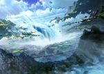 animal bird blue_sky clouds cloudy_sky commentary_request day dutch_angle fantasy floating_island flying hanging_bridge mocha_(cotton) mountain no_humans original outdoors scenery sky water waterfall