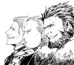 3boys beard character_request facial_hair fate/grand_order fate_(series) formal grey_hair greyscale highres james_moriarty_(fate/grand_order) looking_to_the_side male_focus monochrome mugetsu2501 multiple_boys mustache rider_(fate/zero) short_hair smile smirk teeth upper_body