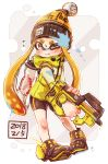 1girl absurdres bangs bike_shorts black_shorts blonde_hair blunt_bangs bobblehat commentary dated domino_mask flying_sweatdrops grey_eyes harutarou_(orion_3boshi) hero_shot_(splatoon_2) highres holding holding_weapon ink_tank_(splatoon) inkling jacket logo long_hair long_sleeves mask one_eye_closed paint_on_face paint_splatter pointy_ears shoes short_shorts shorts single_vertical_stripe sneakers solo splatoon_(series) splatoon_2 squidbeak_splatoon sweatdrop tentacle_hair weapon wince yellow_footwear yellow_headwear yellow_jacket