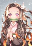 1girl asa_no_ha_(pattern) bamboo bit_gag blurry blush brown_hair checkered_obi clenched_hands gag gradient_hair grey_background hair_ribbon haori japanese_clothes kamado_nezuko kawanobe kimetsu_no_yaiba kimono long_hair long_sleeves looking_at_viewer mouth_hold multicolored_hair obi orange_hair pink_eyes pink_kimono pink_ribbon ribbon sash snowing solo two-tone_hair upper_body wavy_hair