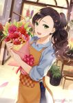1girl :d apron artist_name black_hair blue_shirt bouquet chikabo_m day florist flower green_eyes hair_ornament hairclip holding holding_bouquet indoors looking_at_viewer open_mouth original plant potted_plant shirt smile solo standing
