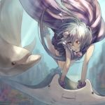 1girl air_bubble animal black_eyes bubble closed_mouth dolphin dress green_hair hair_between_eyes highres long_hair manta_ray original parted_lips red_eyes seashell seashell_hair_ornament shell smile takemiya_09 underwater water