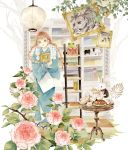 1girl animal blue_kimono book bookshelf braid bread brown_eyes brown_hair camellia cat clothed_animal commentary_request cup flower food frog goat indoors japanese_clothes kimono kyouraku_no_mori_no_alice lace-trimmed_sleeves ladder lantern long_hair long_sleeves niwa_haruki object_hug official_art open_mouth painting_(object) pink_flower pouring rabbit raisin_bread sandals saucer smile solo standing table teacup teapot twin_braids wide_sleeves