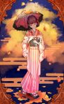 1girl alternate_costume autumn_leaves bangs black_bow blush bow brown_hair closed_eyes closed_mouth clouds earrings evening facing_viewer floral_print foot_up frilled_kimono frills geta hair_ornament hair_up head_tilt heart heart_hair_ornament highres holding idolmaster idolmaster_cinderella_girls japanese_clothes jewelry kimono koyo_akio medium_hair obi parasol pink_bow pink_kimono sakuma_mayu sash short_ponytail smile solo standing striped striped_kimono tabi twitter_username umbrella white_legwear
