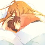1boy 1girl age_difference bed blanket brown_hair habuha hand_on_another's_head head_in_chest hug orange_hair original sleeping