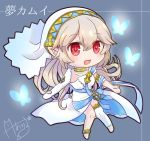 1girl asymmetrical_legwear azura_(fire_emblem) azura_(fire_emblem)_(cosplay) bug butterfly chibi choker corrin_(fire_emblem) corrin_(fire_emblem)_(female) cosplay dress fire_emblem fire_emblem_fates fire_emblem_heroes insect long_hair nekomikoalice open_mouth pointy_ears red_eyes signature simple_background solo veil white_dress white_hair