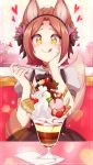 +_+ 1girl 2019 :q animal_ear_fluff animal_ears blush borrowed_character brown_hair cherry choker commentary english_commentary flower food fox_ears fox_tail fruit hair_flower hair_ornament hand_on_own_cheek heart highres holding holding_spoon ice_cream kiwifruit merunyaa original parfait patreon_username pixiv_username puffy_short_sleeves puffy_sleeves short_hair short_sleeves signature smile solo sparkle spoon sprinkles strawberry tail tongue tongue_out waffle whipped_cream whisker_markings yellow_eyes