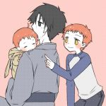 1boy 1girl 2boys ahoge aru_u1g baby black_eyes black_hair blush emiya_kiritsugu emiya_shirou facial_hair fate/grand_order fate/stay_night fate/zero fate_(series) father_and_son fujimaru_ritsuka_(female) long_sleeves multiple_boys orange_hair raglan_sleeves short_hair short_sleeves tagme yellow_eyes younger