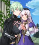 1boy 1girl armor black_armor black_gloves blue_sky byleth_(fire_emblem) byleth_(fire_emblem)_(male) closed_mouth clouds couple dagger day dress fire_emblem fire_emblem:_three_houses gloves green_eyes green_hair hair_ornament hand_on_another's_head hazuki_(nyorosuke) highres holding_hands jewelry long_hair long_sleeves lysithea_von_ordelia outdoors pink_eyes ring sheath sheathed short_hair sky smile weapon white_hair