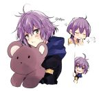 1girl bernadetta_von_varley closed_eyes closed_mouth earrings fire_emblem fire_emblem:_three_houses garreg_mach_monastery_uniform grey_eyes holding holding_stuffed_animal hood hood_down jewelry multiple_views naho_(pi988y) open_mouth purple_hair short_hair simple_background smile stuffed_animal stuffed_toy teddy_bear twitter_username uniform white_background