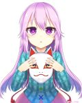 1girl blue_shirt commentary_request fox_mask hata_no_kokoro holding holding_mask long_hair looking_at_viewer mask okichi_miyoshi open_mouth pink_eyes pink_hair pink_skirt plaid plaid_shirt purple_hair shirt simple_background skirt solo staring touhou very_long_hair violet_eyes white_background