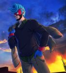 1boy arms_(game) black_shirt blue_gloves blue_hair blue_sky clouds cowboy_shot domino_mask gloves highres hizuki_(hiduki6121) jacket jacket_removed long_sleeves male_focus mask outdoors over_shoulder pompadour shirt sky solo spring_man_(arms) standing wristband