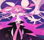 1girl abstract absurdly_long_hair dress expressionless eyebrows_visible_through_hair floating full_body gloves goddess_madoka hair_between_eyes hair_ribbon kaname_madoka knees_together_feet_apart long_dress long_hair looking_away mahou_shoujo_madoka_magica no_mouth outstretched_arms pink_legwear purple_background ribbon shiny shiny_hair simple_background solo star starry_background suzuka_g thigh-highs thigh_gap two_side_up very_long_hair white_dress white_footwear white_gloves white_ribbon wide_sleeves wings yellow_eyes zettai_ryouiki