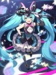 1girl absurdres aqua_eyes aqua_hair argyle argyle_legwear asymmetrical_gloves asymmetrical_legwear bangs breasts commentary_request elbow_gloves eyebrows_visible_through_hair facepaint frilled_skirt frills from_above full_body gloves hand_on_hip hatsune_miku highres holding holding_microphone korean_commentary long_hair looking_at_viewer magical_mirai_(vocaloid) medium_breasts microphone microphone_wand open_mouth pantyhose sidelocks skirt sleeveless smile solo standing star star-shaped_pupils striped striped_legwear symbol-shaped_pupils twintails upper_teeth very_long_hair vocaloid white_gloves wrist_cuffs z_loader