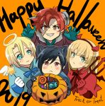 1girl 3boys :< animal_ears black_hair blonde_hair blue_eyes blue_gloves cat_ears cat_paws closed_mouth demon_horns dimitri_alexandre_blaiddyd fake_horns felix_hugo_fraldarius fire_emblem fire_emblem:_three_houses gloves green_eyes halloween_basket halloween_costume halo happy_halloween holding holding_wand horns ingrid_brandl_galatea long_hair long_sleeves multiple_boys orange_background paws polearm red_eyes red_gloves redhead short_hair simple_background stitches sylvain_jose_gautier tamama009 trident wand weapon white_gloves younger