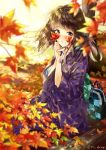 1girl autumn_leaves bag blurry blurry_foreground blush brown_eyes brown_hair commentary_request day depth_of_field grin hands_up holding holding_leaf japanese_clothes kimono leaf log long_hair long_sleeves looking_at_viewer maple_leaf miyabi_akino original outdoors purple_kimono sitting smile solo tree twitter_username wide_sleeves