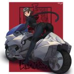 1girl absurdres ass bent_over biker_clothes bikesuit brown_eyes brown_hair gloves ground_vehicle highres joanna_(persona_5) looking_at_viewer mask mask_on_head motor_vehicle motorcycle nidhoggn niijima_makoto parted_lips persona persona_5 riding scarf short_hair shoulder_spikes solo spikes tarot