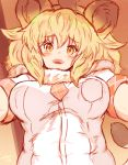 1girl animal_ears blonde_hair breasts kemono_friends large_breasts lion_(kemono_friends) lion_ears lion_tail looking_at_viewer ooba_jun tail yellow_eyes